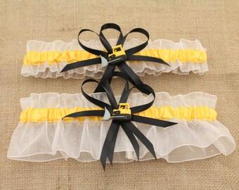 White and Gold Wedding Garter Set with Bulldozer Deco, Bridal Garter, Prom Garter
