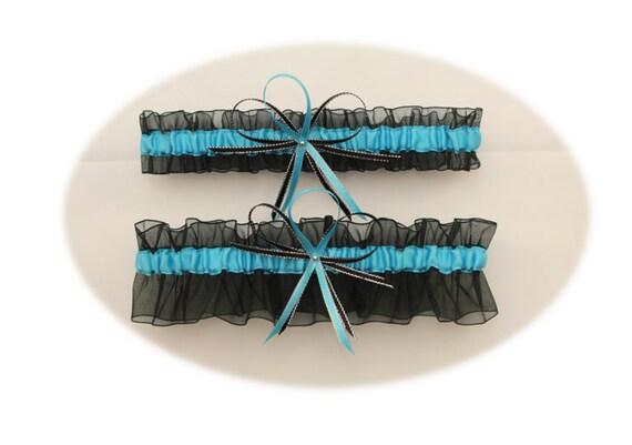 Sheer Black And Turquoise Wedding Garter Set Bridal Garter
