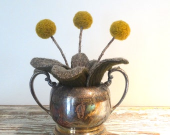Knit Plant - Mustard Pom Pom Flowers - Wool Plant - Potted Fake Plant - Tarnished Silver Plate Sugar Bowl - T Monogram Decor - Craspedia