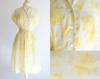 Vintage 50s Dress | 1950s Cotton Blend Dress | Yellow Rose Peter Pan Collar Sun Dress Large