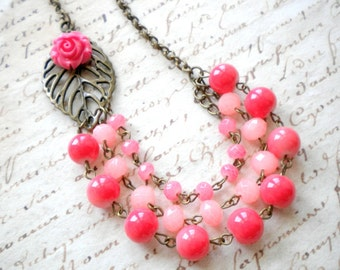 Coral Weddings Jewelry Coral Necklace Flower Necklace Coral Bridesmaid Necklace Multi Strand Statement Necklace Summer Coral Jewelry