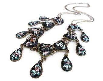 Persian Enamel Necklace, Heart Shape, Teardrop, Bird Flower, Black Silver, Bib Dangle, Vintage Jewelry