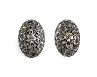 Vintage Silver Cannetille Filigree Earrings - Floral Pattern, 900 Silver, Etruscan Revival, Clip On, Vintage Earrings, Vintage Jewelry