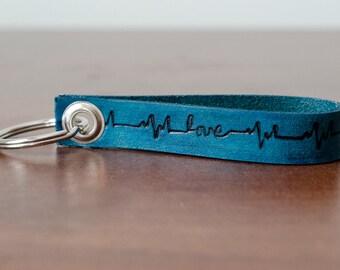 Love Heartbeat Leather Keychain - Accessory, Anniversary Gift, Custom Keychain, Wedding Gift,