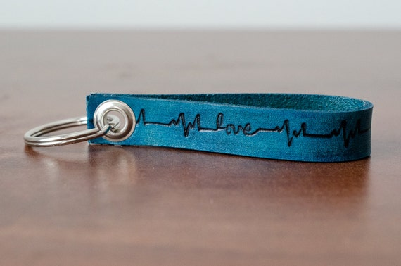 Love Heartbeat Leather Keychain - Accessory, Anniversary Gift, Custom Keychain, Wedding Gift,