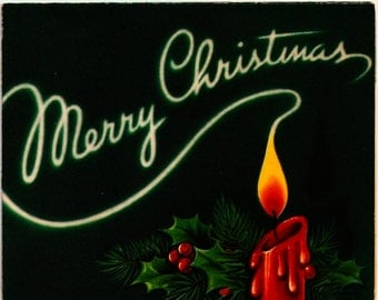 Vintage Christmas Card Burning Candle Merry Christmas