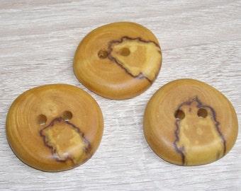 """3 Handmade  birch wood buttons, accessories (1,5"""" diameter x 0,28"""" thick)"""