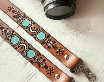 Custom Leather Camera Strap - Shoot for the Moon - Turquoise Celestial Moon Maiden  - Personalized - Handmade & Handpainted by Mesa Dreams