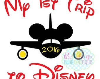 Airplane First Disney Trip IRON ON TRANSFER - Tshirt - Bodysuit - Tote Bags - First Disney Trip - Disney Birthday