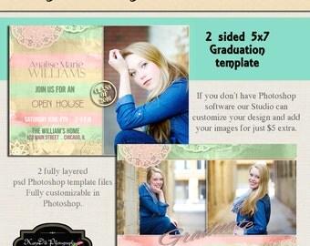 INSTANT DOWNLOAD Vintage Lace Senior Graduation Announcement Templates/PSD files