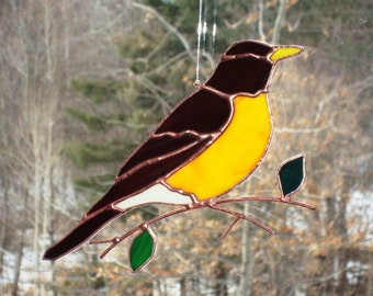 Robin - Large Stained Glass Bird Suncatcher 3216