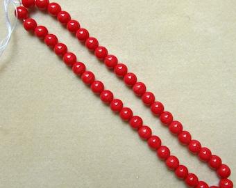 "Red Howlite Beads - 7mm Round Beads 16"" Strand - Jewelry Craft Supply Destash"