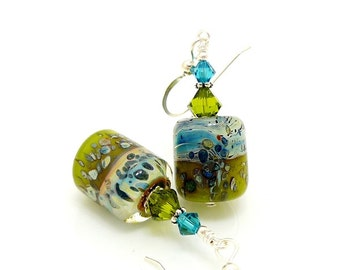 Colorful Earrings, Boro Glass Earrings, Lampwork Earrings, Barrel Earrings, Glass Bead Earrings, Unique Earrings, Beadwork Earrings