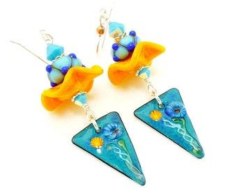 Blue Beach Ruffle Mixed Metal Earrings, Metalwork Earrings, Copper Earrings, Lampwork Earrings, Dangle Earrings, Enameled Copper Earrings