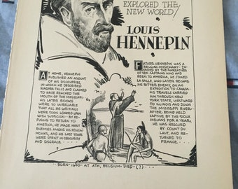 Book page print . Henry Hudson the dauntless ssilor. 7 x11 Great for framing for the collector. History.