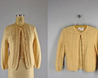 "1960s popcorn handknit cardigan / ""mothproof"" sweater by Foxridge / Amaize cardigan"