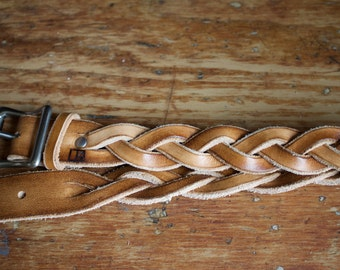 Braided Leather Belt in timber stain