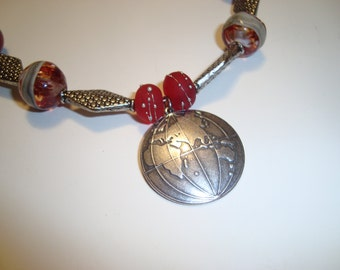 Round the World Necklace with Silver Globe, Silver Beads and Red Lampwork Beads, Statement Design, Unique Design, Artisan Made