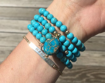108 Stack - Turquoise Howlite