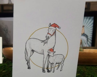 Merry Christmas horse and sheep funny pun card