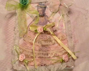Marie Antoinette altered journal in green and pink