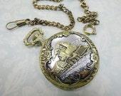 Tick Tock Vintage Train Railroad Antique Style Pocket Watch With Chain Ornate Locket Case Steampunk Costume Destash Decoration Supply Lot