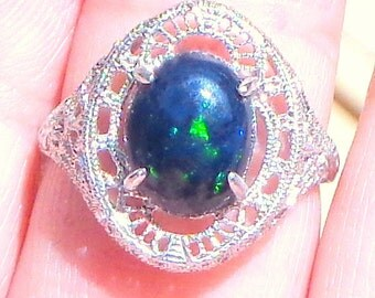 Solid 10k White Gold, Victorian Design Ring, Ethiopian Welo Black Opal Ring, Color Play Stone, Blue, Green, Red Fire, New Filigree Setting