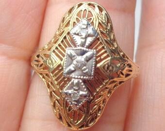 Diamond Ring, 10k Two-Tone,Solid Gold, Art Deco/Art Nouveau, Estate Ring,Vintage Gold Ring, Art Deco, Vintage Diamond Ring