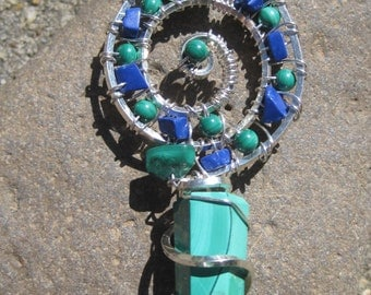 Transformation///Sacred Spirals/// Malachite, Azurite, and Sterling Silver Wire Wrap Pendent, One of a Kind, Handmade, Art