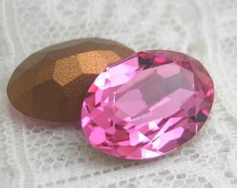 1 Pair 14x10 Rose Pink Machine Cut Oval Swarovski Glass Loose Rhinestone Qty 2