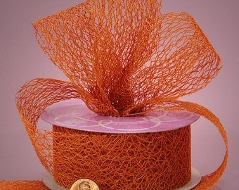 3 yards of TERRA COTTA Orange Random Fiber Mesh Cut edge Ribbons