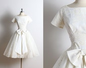Vintage 50s Dress | 1950s wedding dress | flocked floral dress xs | 5709