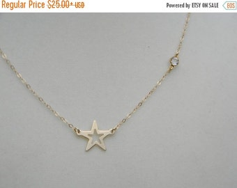 Vday Sale 14K Gold Fill, Star And Crystal Necklace, Glee Inspired, Worn by Rachel Berry, Lea Michele, Finn Hudson Gift, Shooting Star