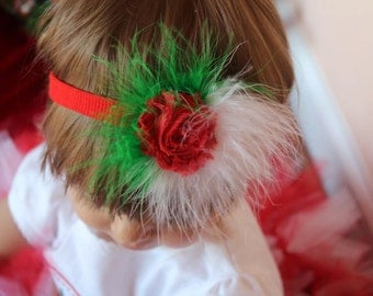 Christmas Shabby Flower Hairpiece with Red Marabou Fluff Christmas Flower Clip Christmas Flower Headband Red, Lime Green and White Flowers