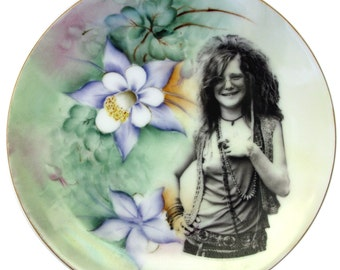 Janis Joplin Portrait Plate - Altered Vintage Plate 7.75""