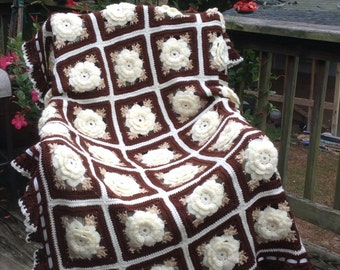 Cream Ivory Rose Crocheted Afghan - Ready to Ship - 35 squares