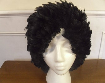 Vintage 1960's  Black Feathered Wig