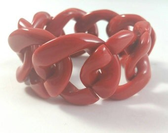 Ravishing Red Lucite Chain Link Slip on Bracelet Unsigned
