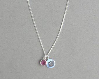 Swarovski October Birthstone and HS Initial Necklace