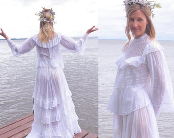 1910s Edwardian Dress, Bohemian Wedding Dress, Antique White Cotton Lace Dress, Boho Bridal Dress