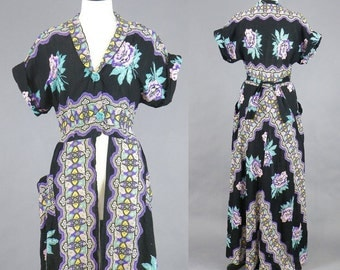 Vintage 1940s Robe Dress, 40s Maxi Dress Wrapper, Floral Paisley Print Cotton Split Front Tunic House Dress