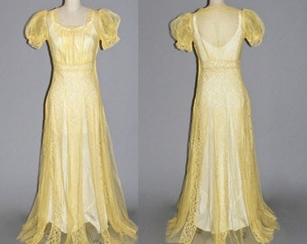 1930s Dress, 30s Evening Dress, Yellow Net Lace Gown XS - S