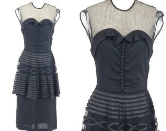 Vintage 1940s Dress, 40s Dress, 1940s Peplum Dress, Film Noir Dress XS - S