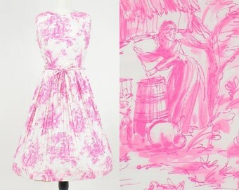 1950s Novelty Print Dress, 50s Dress, Pink & White Toile Dress with Maidens, Medium