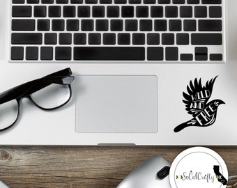 Wild And Free Vinyl Decal, Bird Decal, Typography Decal, Quote, Laptop Decal, Tablet Decals, Car Window Decal