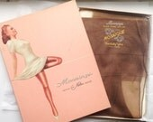 Vintage Fully Fashioned Mannings Mosaique Black Frame Outline Stockings- 1 Pair