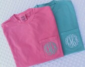 Shop Small Sale - Monogrammed Comfort Colors  Short Sleeve Pocket Shirt