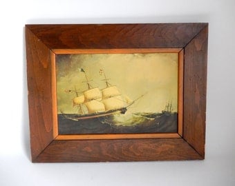 Vintage 1970's Nautical American Sailing Ship Schooner Print in Wooden Frame