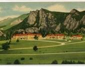 Stanley Hotel Estes Park Rocky Mountain National Park Colorado 1940s linen postcard