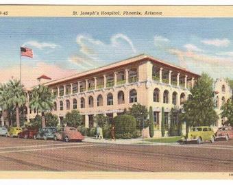 St Joseph's Hospital Cars Phoenix Arizona linen postcard